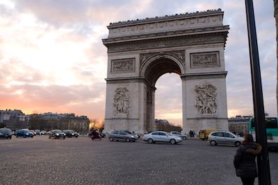 The Arc de Triomphe commemorates Napoleon's victory at Austerlitz.