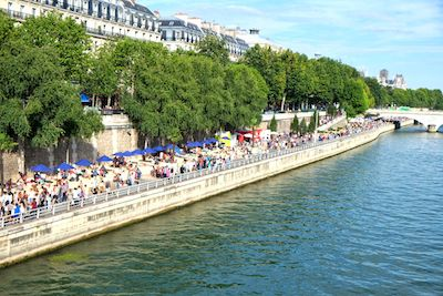 Part Paris Plages on the roadway beside the Seine.