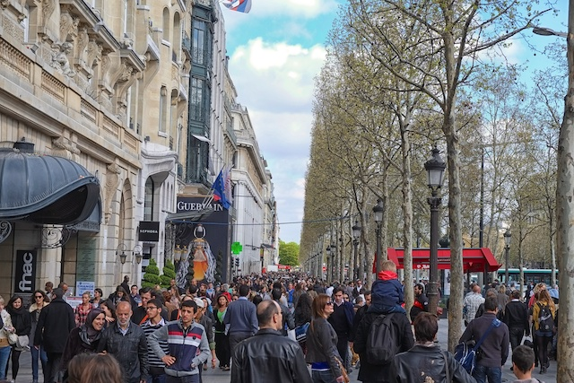 Some of the throngs of shoppers along the Champs-Elysées