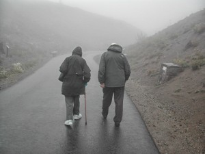 Marion and Bill heading off into the fog at Mount Saint Helens in 2005.