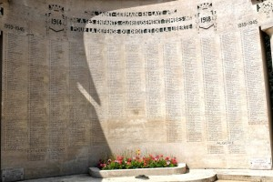 Typical memorial to French war dead. On far left and far right are columns added for World War II. The rest of the names are from World War I, about 5 times as many.