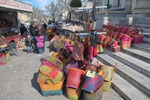 Colored baskets at the market at Saint Remy