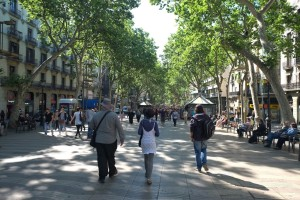 Don and Brenda walk down La Rambla