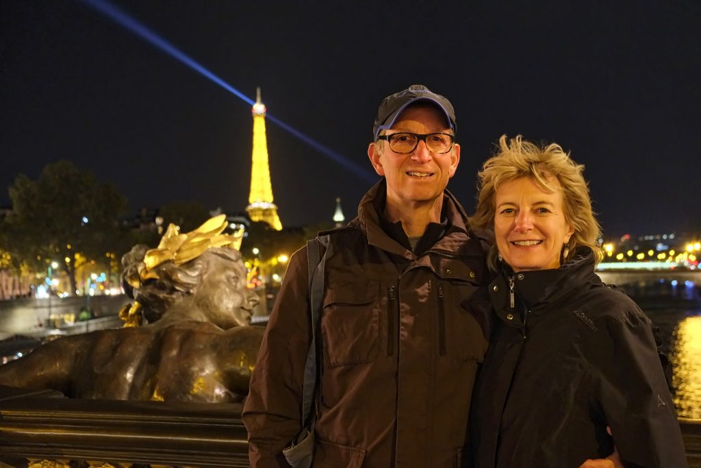 Hugh and Brenda on Pont Alexandre III with la Tour Eiffel in background