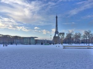 Champs de Mars in the snow