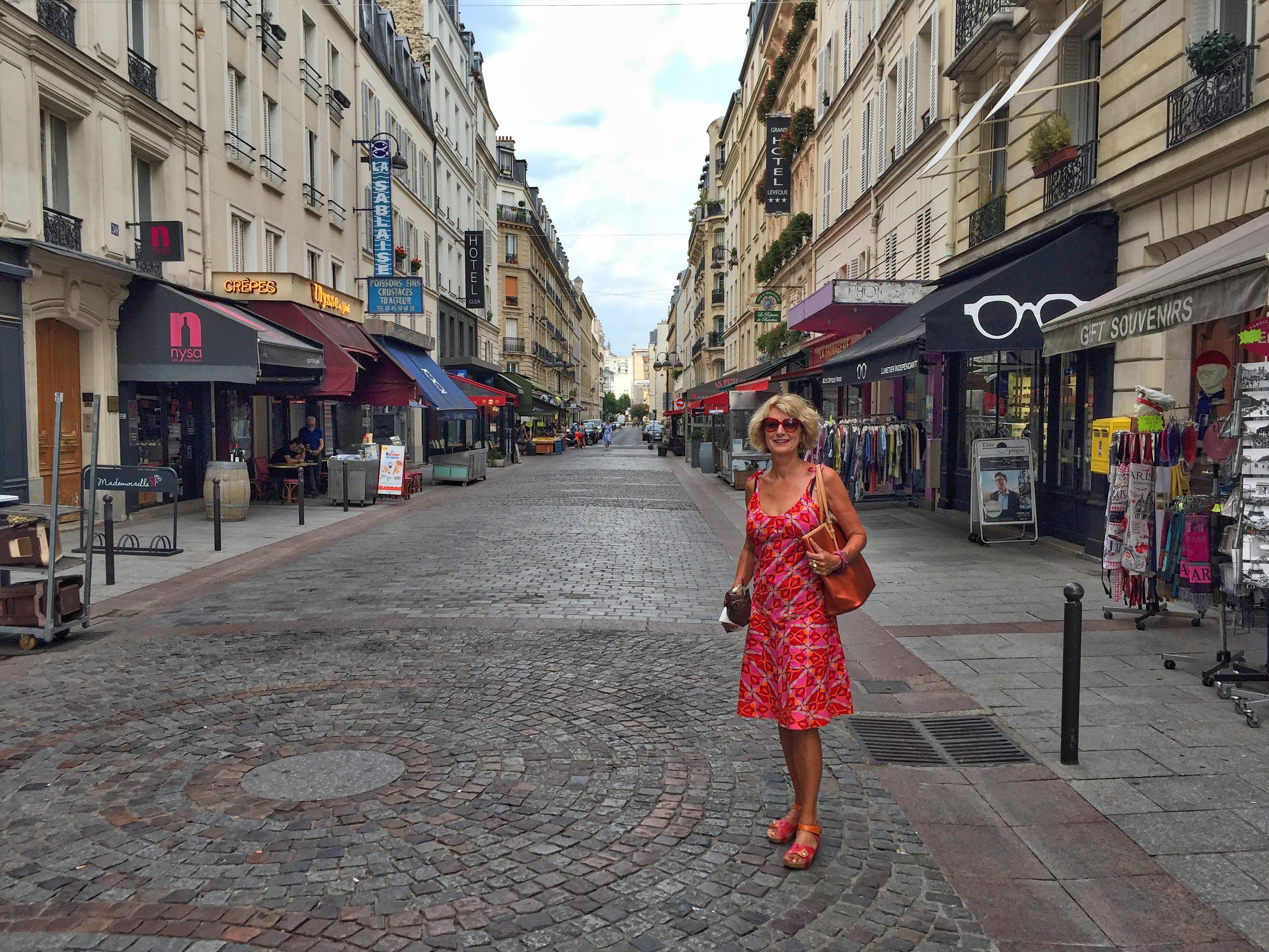 Brenda on deserted rue Cler