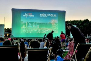 movie screen at Parc de la Villette