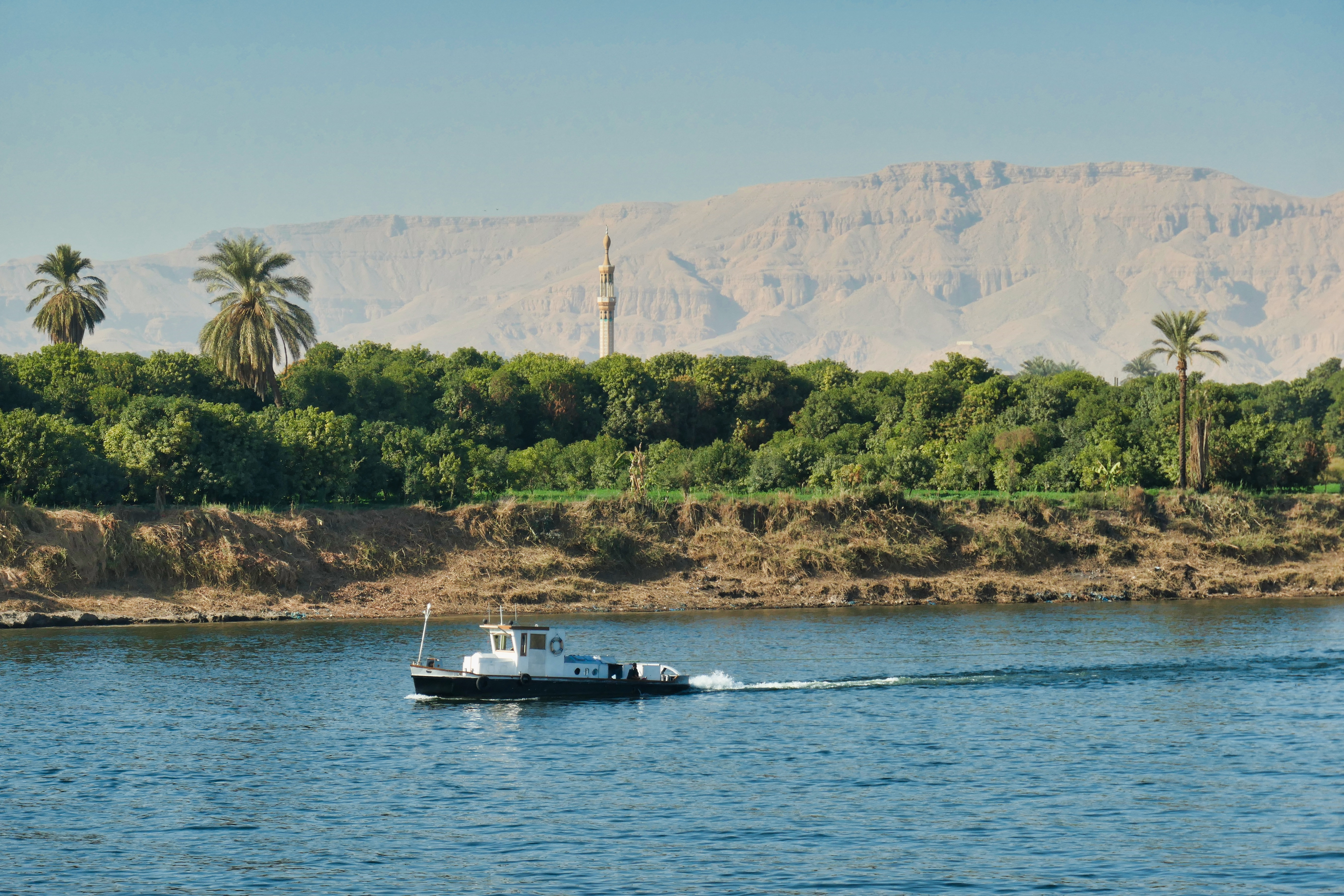 On the Nile river proceeding south from Luxor