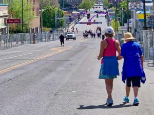 Brenda and Beth head towards the finish line in the 2019 Bloomsday