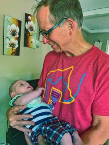My grand nephew Caedan hoping that I'll be able to hang on.