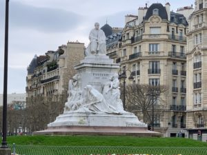 Large monument to Louis Pasteur at Place de Breteuil, Paris