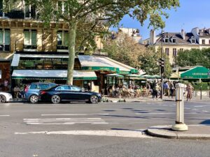 Les Deux Magots, one of the writer's favored cafés in Odéonia